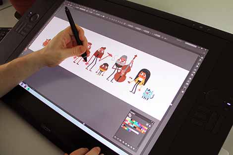 Stijlontwikkeling en ontwerp van de illustraties.